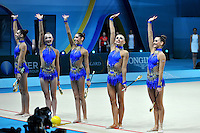 August 31, 2013 - Kiev, Ukraine -  USA RHYTHMIC GROUP wave to fans after clubs routine at 2013 World Championships.