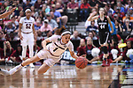 DALLAS, TX - MARCH 31:  Bianca Cuevas-Moore #1 of the South Carolina Gamecocks dives for the ball during the 2017 Women's Final Four at American Airlines Center on March 31, 2017 in Dallas, Texas. (Photo by Justin Tafoya/NCAA Photos via Getty Images)