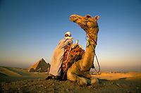 Camel drivers at the great pyramids at Giza, Egypt