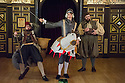 London, UK. 25.02.2014.  Shakespeare's Globe presents THE KNIGHT OF THE BURNING PESTLE, directed by Adele Thomas, in the Sam Wanamaker Playhouse. Picture shows: Dennis Herdmann (Tim), Matthew Needham (Rafe) and Dean Nolan (George). Photograph © Jane Hobson.