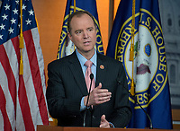 United States Representative Adam Schiff (Democrat of California), ranking member of the US House Permanent Select Committee on Intelligence holds a press conference in the US Capitol on Wednesday, March 22, 2017.  Schiff was speaking after the committee chairman, US Representative Devin Nunes (Republican of California) announced he had been given some intercepted communications that do not appear to be related to the ongoing FBI investigation into Trump associates' contacts with Russia or any criminal warrants. Nunes, who was a member of President Trump's transition team, went to the White House to brief the President on their contents before sharing them with Schiff.  <br /> Credit: Ron Sachs / CNP /MediaPunch