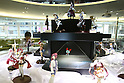 July 27, 2010 - Tokyo, Japan - Figurines are on display inside the Akihabara Blood Donation Center in Tokyo, Japan, on July 27, 2010. Also called 'Akiba:F', the blood donation facility opened on October 2009 and has free wifi, figure display cases, shelves of manga, and video screens that will show movies, to help people relax and feel comfortable.