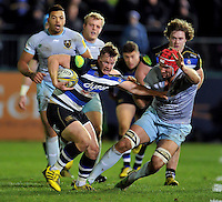 Chris Cook of Bath Rugby takes on the Northampton Saints defence. Aviva Premiership match, between Bath Rugby and Northampton Saints on December 5, 2015 at the Recreation Ground in Bath, England. Photo by: Patrick Khachfe / Onside Images