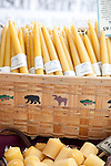 The extremely popular Saturday Portland Farmers' Market, located in the South Park Blocks near the Portland State University Campus, offers a large selection of locally grown organic produce, fish, meat and foodstuffs.  Raynblest Farm makes beeswax candles, honey and skin care products.