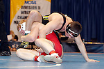 12 MAR 2011:  Donovan McMahill of Western State (in red) wrestles Mitch Knapp of West LIberty during the Division II Men's Wrestling Championship held at the UNK Health and Sports Center on the University of Nebraska - Kearney campus in Kearney, NE. McMahill defeated Knapp 9-3 to win the 197-lb national title. Scott Anderson/NCAA Photos