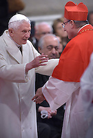 Cardinal Daniel Fernando Sturla Berhouet, archbishop of Montevideo, Uruguay.pope Benedict XVI,during a consistory for the creation of new Cardinals at St. Peter's Basilica in Vatican.February 14, 2015