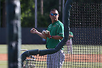 16 May 2016: Notre Dame head coach Mik Aoki throws batting practice before the game. The University of North Carolina Tar Heels hosted the University of Notre Dame Fighting Irish in an NCAA Division I Men's baseball game at Boshamer Stadium in Chapel Hill, North Carolina.