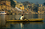 Asia, India, Varanasi. Boatman on the Ganges River.