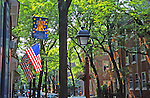 Historic Society Hill, American flag displayed, Lamp, Trees, Philadelphia, PA
