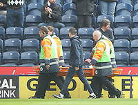Preston North End's Greg Cunningham is carried from the pitch<br /> <br /> Photographer Mick Walker/CameraSport<br /> <br /> The EFL Sky Bet Championship - Preston North End v Norwich City - Monday 17th April 2017 - Deepdale - Preston<br /> <br /> World Copyright &copy; 2017 CameraSport. All rights reserved. 43 Linden Ave. Countesthorpe. Leicester. England. LE8 5PG - Tel: +44 (0) 116 277 4147 - admin@camerasport.com - www.camerasport.com