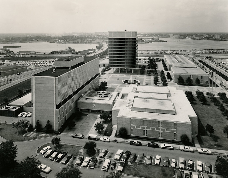 1971 July 27..Redevelopment.Downtown South (R-9)..Looking S at City Hall Complex & Courts Building & City Jail..Millard Arnold.NEG#  MDA71-115-1..
