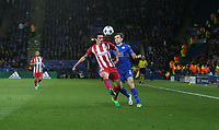 Leicester City's Ben Chilwell and Atletico Madrid's Stefan Savic<br /> <br /> Photographer Stephen White/CameraSport<br /> <br /> The EFL Sky Bet Championship - Blackburn Rovers v Bristol City - Monday 17th April 2017 - Ewood Park - Blackburn<br /> <br /> World Copyright &copy; 2017 CameraSport. All rights reserved. 43 Linden Ave. Countesthorpe. Leicester. England. LE8 5PG - Tel: +44 (0) 116 277 4147 - admin@camerasport.com - www.camerasport.com