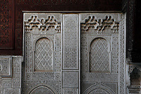 Carved screen, Bou Inania Madrasa, Meknes, Morocco, pictured on December 26, 2009, founded in 1350 by Abu Inan Faris, Marinid ruler, a fine example of Islamic architecture. Meknes, one of Morocco's Imperial cities, was redeveloped under Sultan Ismail Moulay (1634-1727). It is a fortified city built from pise, or clay and straw, and was designed to be the political capital of Morocco, as opposed to Fez, the religious capital. Picture by Manuel Cohen