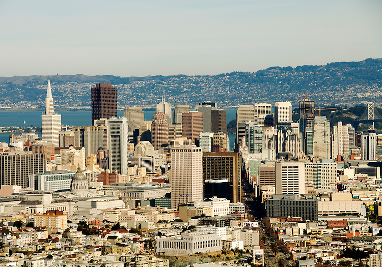 California, San Francisco: View of San Francisco's downtown from Twin Peaks..Photo #: 11-casanf77491.Photo © Lee Foster 2008