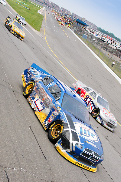 19 June, 2011: Brad Keselowski shows off his car's damage during the 43rd Annual Heluva Good! Sour Cream Dips 400 at Michigan International Speedway in Brooklyn, Michigan.