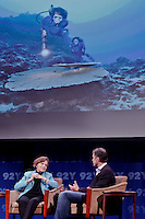 "Sylvia Earle , Explorer in residence National Geographic and Fabien Cousteau, Ocean Producer Director chats during the ""Social Good Summit"" in New York, United States. 11/16/2012. Photo by Kena Betancur/VIEWpress."