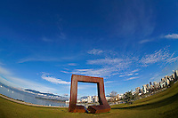 Corten steel sculpture Gate to the Northwest Passage by Alan Chung Hung (1980) in Vanier Park, Vancouver, BC, Canada