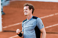 June 3, 2015: Andy Murray of United Kingdom celebrates winning a Quarterfinal match against David Ferrer of Spain on day eleven of the 2015 French Open tennis tournament at Roland Garros in Paris, France. Murray won 76 62 57 61. Sydney Low/AsteriskImages