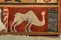 Detail of wall painting of a dromedary (20th century copy), Lombard Romanesque style Church of Sant Joan de Boi, 11th century, Catalonia, Spain. On the undersides of arches and in the lower part of the church are murals representing the Medieval bestiary, a mix of known animals and fantastic beasts. The murals are now preserved at the National Museum of Catalan Art (MNAC) in Barcelona. Picture by Manuel Cohen.