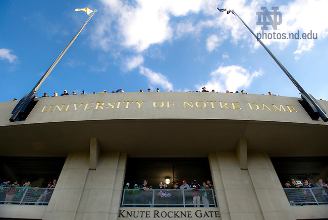 Sept. 22, 2012; Fans gather to watch the Notre Dame Marching Band enter the stadium prior to the game against Michigan.  Photo by Barbara Johnston/University of Notre Dame