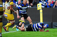 Leroy Houston of Bath Rugby scores a try on his first game back at the club. Aviva Premiership match, between Bath Rugby and Worcester Warriors on September 17, 2016 at the Recreation Ground in Bath, England. Photo by: Patrick Khachfe / Onside Images