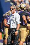 Washington Huskies'  first year head coach Chris Petersen before their game against the Eastern Washington Eagles' at Husky Stadium September 6, 2014 in Seattle. Huskies out lasted the Eagles in a high powered shootout 59-52 in the third highest scoring game in Husky history. ©2014. Jim Bryant  Photo. All Rights Reserved