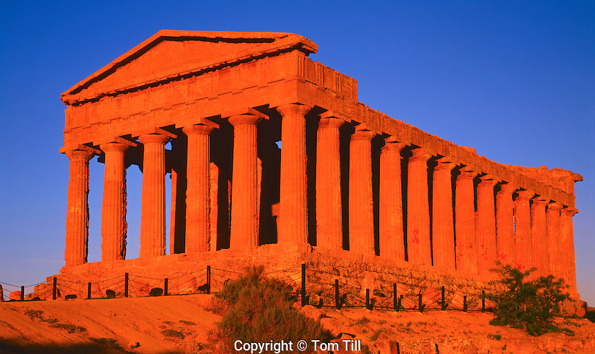 Temple of the Concord at Sunset, Valley of the Temples, Island of Sicily, Italy, best preserved Greek Temple in the world, from 5th century B.C.