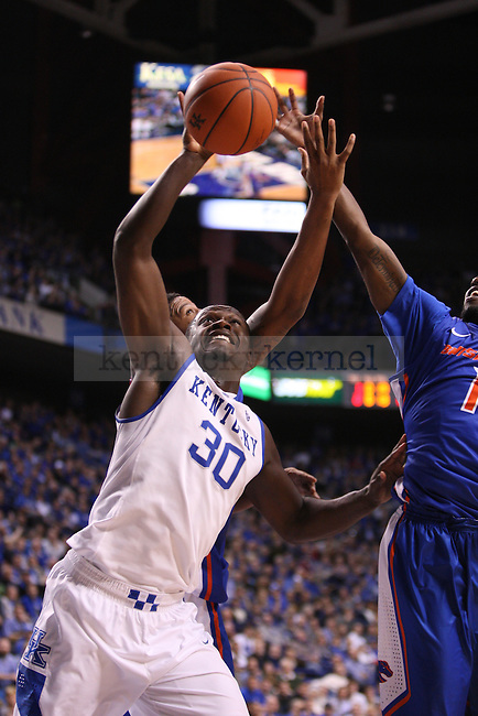 UK forward Julius Randle rebounds the ball during the second half of the University of Kentucky men's basketball game vs. Boise State at Rupp Arena in Lexington, Ky., on Tuesday, December, 10, 2013. UK won 70-55. Photo by Jonathan Krueger | Staff