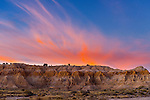Sunset over Rock formations in Cathedral Gorge state park in South Eastern Nevada, USA.