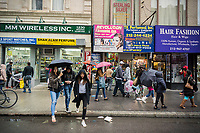 Rows of wholesalers on Broadway in New York on Saturday, april 22, 2017. (© Richard B. Levine)