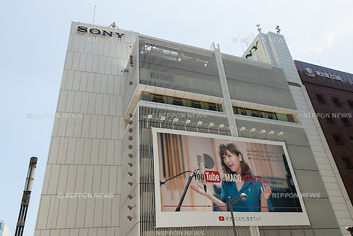Sony signboard on display outside its building in Ginza on June 17, 2016, Tokyo, Japan. Sony announced plans to tear down its Ginza landmark building and replace it with a park whose concept will be similar to the stairs in New York's Time Square. On Monday, the company said that demolition would start in spring 2017 and be concluded by summer 2018. Sony's public park would then operate until after the Olympic Games in 2020. Kazoo Hirai, President and CEO of Sony, said that after the Games, Sony would construct a new building on the land. The current Sony Building was constructed in 1966 and attracts around 4 million visitors each year. (Photo by Rodrigo Reyes Marin/AFLO)