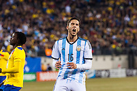 Argentina midfielder Ricardo Alvarez (16) reacts to a missed scoring opportunity. Argentina and Ecuador played to a 0-0 tie during an international friendly at MetLife Stadium in East Rutherford, NJ, on November 15, 2013.