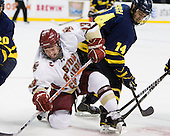 Cam Atkinson (BC - 13), Joe Cucci (Merrimack - 14) - The Boston College Eagles defeated the Merrimack College Warriors 5-3 to win the Hockey East championship for the tenth time on Saturday, March 19, 2011, at TD Garden in Boston, Massachusetts.