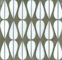 Mod Drops, a glass waterjet mosaic shown in Moonstone, is part of the Erin Adams Collection for New Ravenna Mosaics.