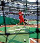 12 July 2008: Washington Redskins' quarterback Sam Hollenbach takes daytime batting practice prior to an evening game between the Washington Nationals and the Houston Astros at Nationals Park in Washington, DC. The Astros defeated the Nationals 6-4 in the second game of their 3-game series...Mandatory Photo Credit: Ed Wolfstein Photo