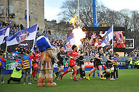 The teams run out onto the field. European Rugby Champions Cup match, between Bath Rugby and RC Toulon on January 23, 2016 at the Recreation Ground in Bath, England. Photo by: Patrick Khachfe / Onside Images