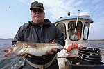 Foto: VidiPhoto..Een sportvisser vangt een kabeljauw.