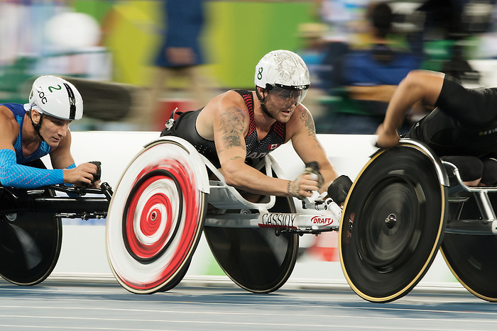 RIO DE JANEIRO - 9/9/2016:  Josh Cassidy competes in the Men's 5000m - T54 Round 1 Heat  in the Olympic Stadium during the Rio 2016 Paralympic Games. (Photo by Matthew Murnaghan/Canadian Paralympic Committee