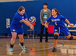 26 October 2014: Yeshiva University Maccabee Middle Blocker Marissa Almoslino (left), a Sophomore from Seattle, WA, in action against the Maritime College Privateers, at the College of Mount Saint Vincent, in Riverdale, NY. The Privateers defeated the Maccabees 3-0 in the NCAA Division III Women's Volleyball Skyline matchup. Mandatory Credit: Ed Wolfstein Photo *** RAW (NEF) Image File Available ***