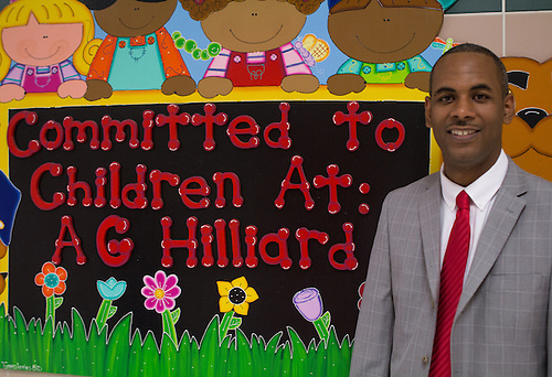 Hilliard ES principal Mike Walker on the first day of school.