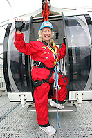 25/08/'10 Teena Gates, Head of News at 98FM pictured at the Wheel of Dublin at the O2 this morning preparing to abseil the 60 meters down from the top of the Wheel. After climbing her own personal mountain, recovering from illness, chronic back pain and loosing 10 stone in 12 months, Teena is heading to Mount Everest Base Camp this October as part of a celebrity fundraiser for the Hope Foundation and street kids in Calcutta....Picture Colin Keegan, Collins, Dublin.
