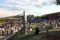 Local patrons gather at the downtown pavillion to hear music and socialize in Charlottesville, VA. Photo/ Andrew Shurtleff