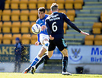 St Johnstone v Dundee....11.04.15   SPFL<br /> Brian Graham curls the ball into the net to score for saints<br /> Picture by Graeme Hart.<br /> Copyright Perthshire Picture Agency<br /> Tel: 01738 623350  Mobile: 07990 594431