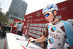 Romain Bardet (FRA) AG2R La Mondiale at sign on before the start of Stage 2 the Nation Towers Stage of the 2017 Abu Dhabi Tour, running 153km around the city of Abu Dhabi, Abu Dhabi. 24th February 2017<br /> Picture: ANSA/Claudio Peri | Newsfile<br /> <br /> <br /> All photos usage must carry mandatory copyright credit (&copy; Newsfile | ANSA)