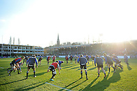 The Bath Rugby team warm up prior to the match. European Rugby Challenge Cup match, between Bath Rugby and Pau (Section Paloise) on January 21, 2017 at the Recreation Ground in Bath, England. Photo by: Patrick Khachfe / Onside Images