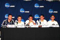 Coach Porter, Scott Caldwell, Anthony Ampaipaitakwong,Zarek Valentin and Chad Barson of the University of Akron after the 2010 College Cup final against the University of Louisville at Harder Stadium, on December 12 2010, in Santa Barbara, California.Akron champions, 1-0.