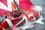 CAMPER with Emirates Team New Zealand leads the fleet across the top of the Coromandel Peninsula five hours into leg five from Auckland to Itajai in Brazil. Volvo Ocean Race 2011 - 12. 18/3/2012