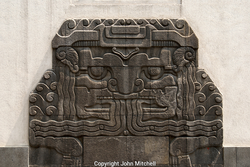 Pre-Hispanic design on the Art Deco building that houses the Museum of Popular Art, Mexico City. The Museo de Arte Popular, which opened in 2006, showcases folk art from all over Mexico.