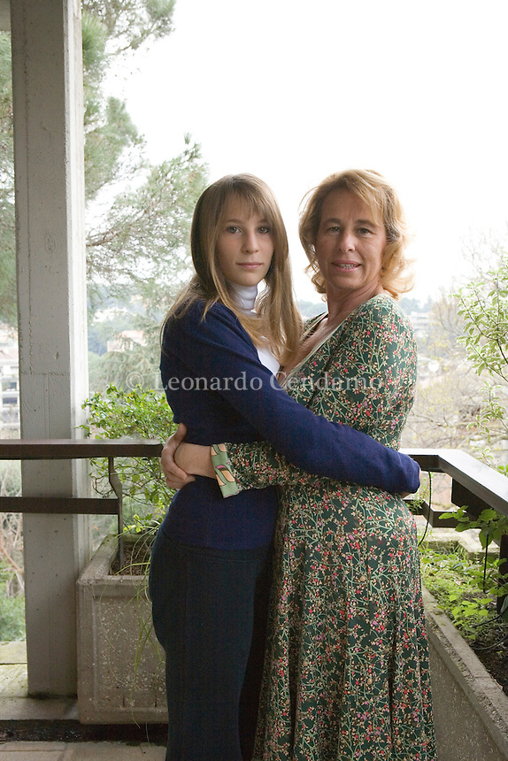 Rome, Italy, 2007. Stefania Craxi, Italian PDL political party Deputy with her daughter Benedetta Bassetti.