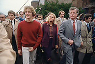 November 13th, 1979, Middletown, Connecticut.<br /> American Senator Ted Kennedy and his wife Joan visit their son Edward Kennedy Jr. at the Wesleyan University.